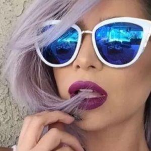 White frame cateye sunglasses retro vintage chic